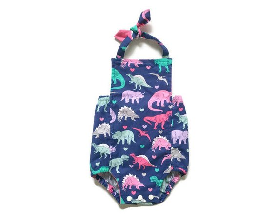 061b962c3dc52 Girls Dinosaur Romper | Dino Outfit | Bubble Summer Sunsuit | Dinosaur  Party Outfit | Infant, Toddle