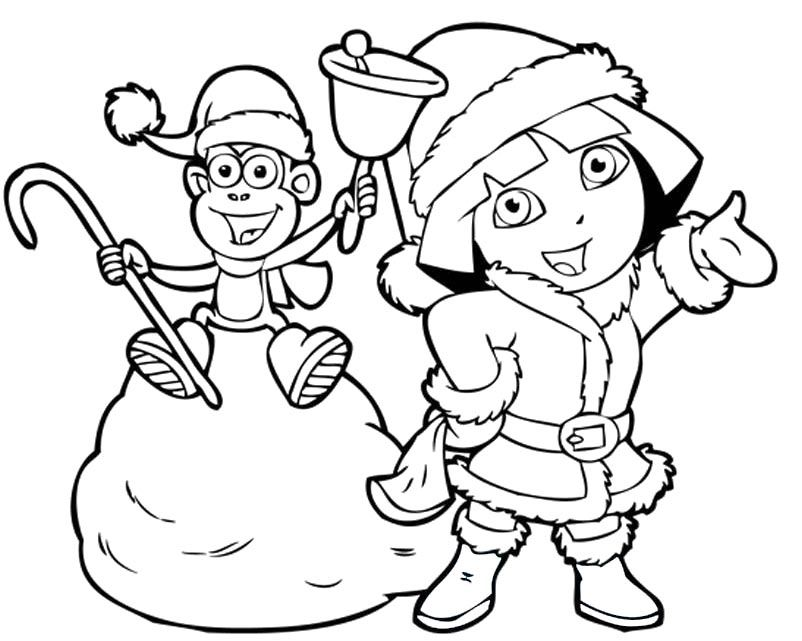 Dora And Boots In Christmas Coloring Pages Free Printables - new dora christmas coloring pages free printable