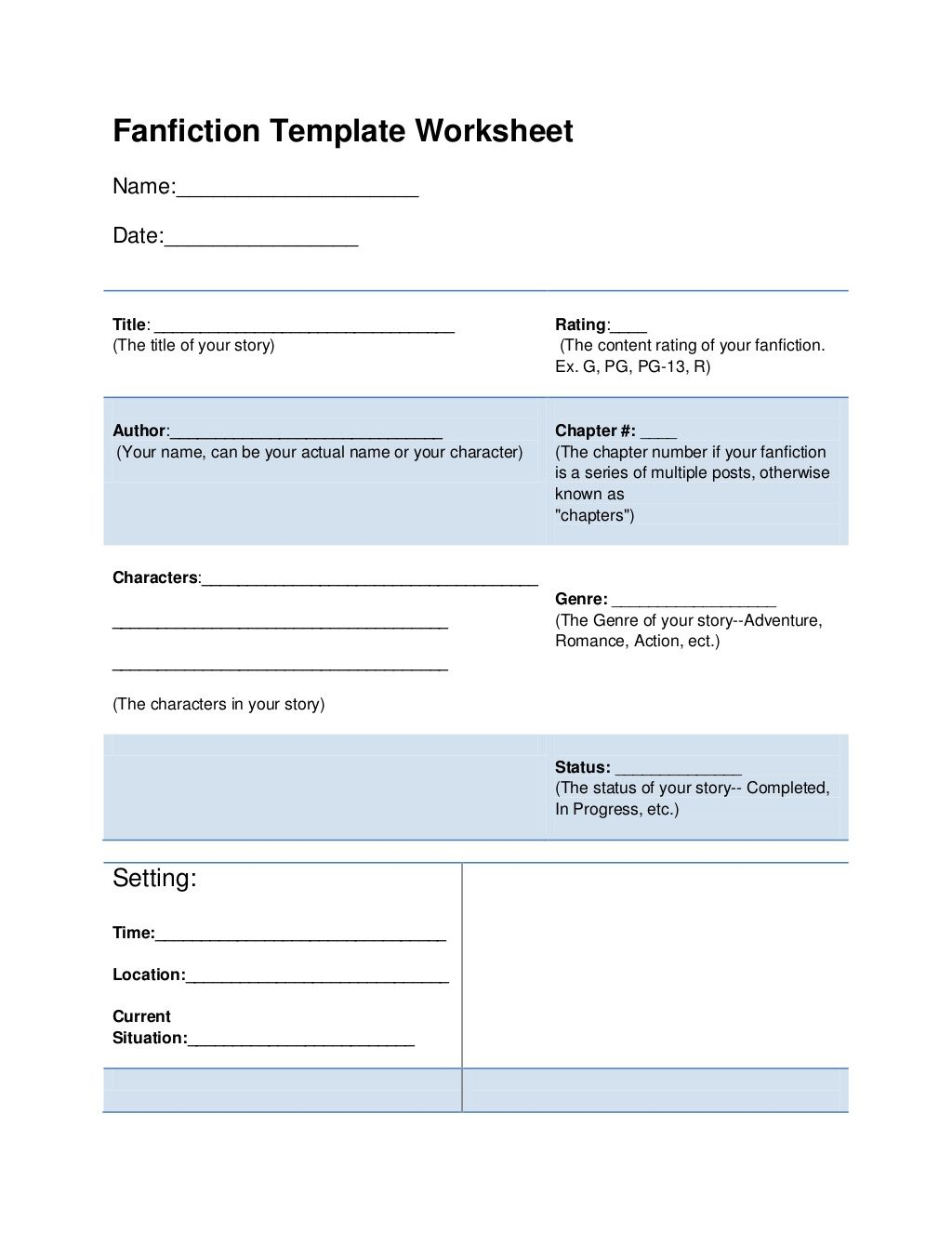 Fanfiction Template Worksheet By Jirojima Via Slideshare