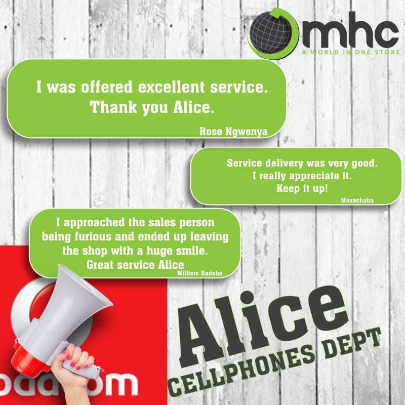 Well done Alice Visit our Cellphone Department and meet Alice Whatsapp 071 551 5390 PLUS 12 on the difference Bring your formal quote and we will beat it Phone 012 326 64...