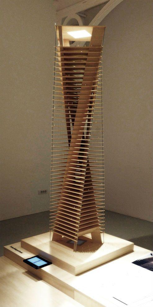 Hochhaus Aussichtsturm Skulptur Struktur Architekturmodell Modellbau Architektonische Modelle Holzarchitektur Futuristische Architektur