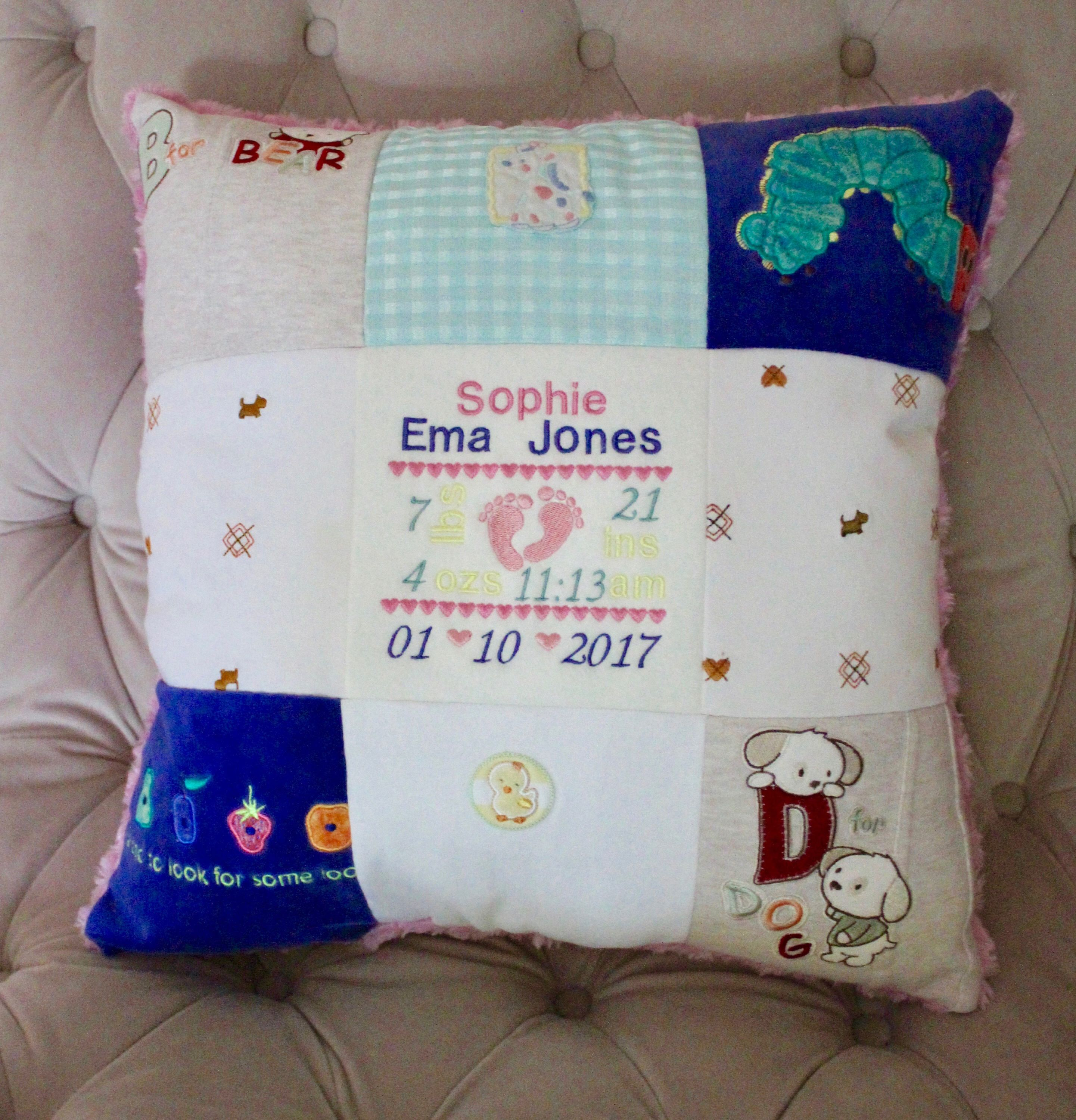 pillow made of old baby clothes