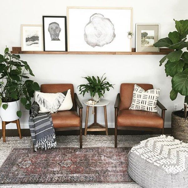 Photo of Mid-Century Leather Show Wood Chair