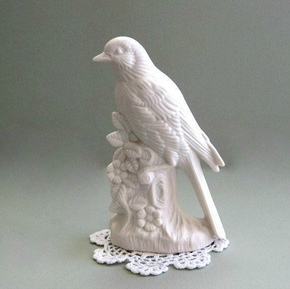 White Bird Decor Ceramic Decoration Flower On Branch