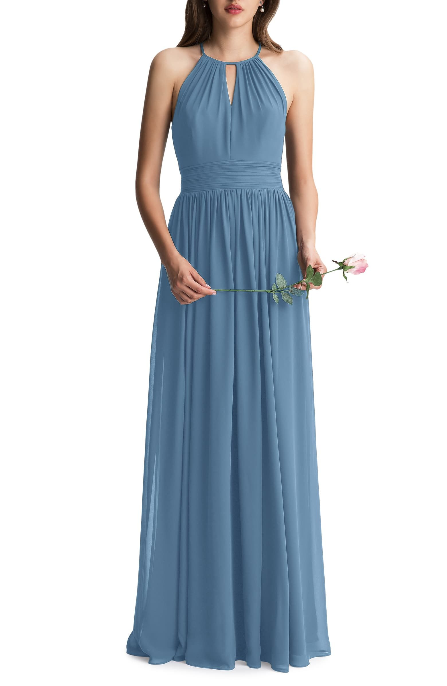 Photo of #Levkoff Keyhole Neck Chiffon A-Line Gown | Nordstrom
