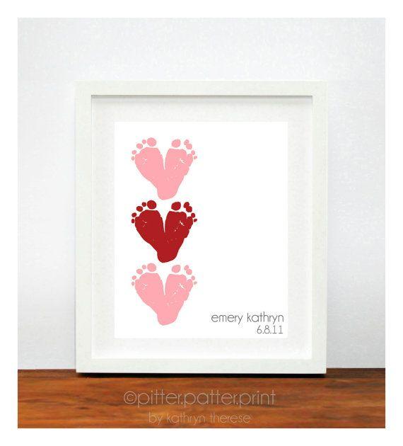 Valentines Day Gift - Baby's Footprints | Baby Handprint ...
