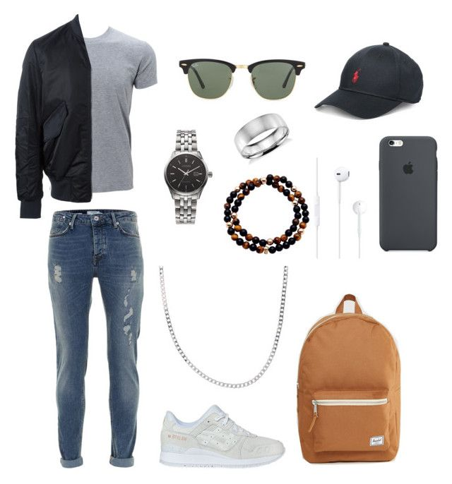 """men's  polyvore"" by jesy-smith on Polyvore featuring Topman, PS Paul Smith, Asics, Herschel Supply Co., Ray-Ban, Polo Ralph Lauren, Citizen, Edge Only, Blue Nile et Nialaya"
