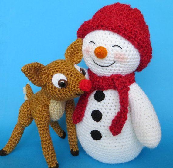 Crochet SNOWMAN and FAWN pattern (English only) | Häkeln, Schneemann ...