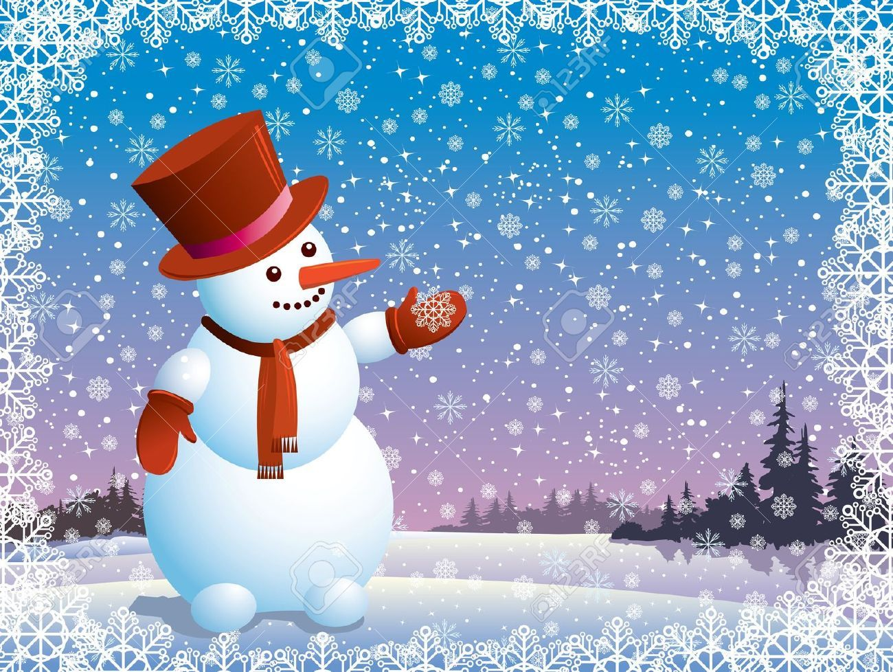 Cartoon happy snowman looking at the snowflake (christmas)