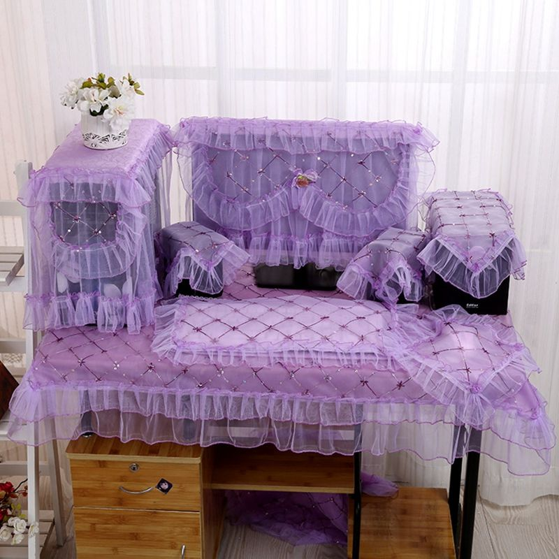 Amazing Desktop Computer Cover Sets Purple Lace Embroidery Dust Proof Desk  Decoration With Lace Table Cover Audio