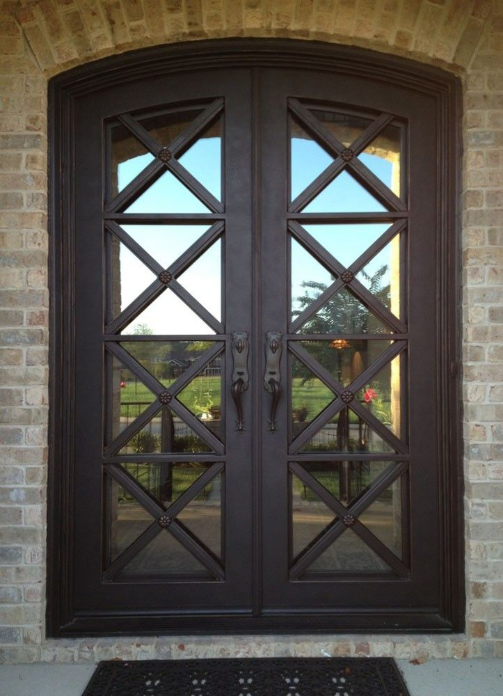 Glass Panel Wrought Iron Safety Door Grill Designs Photo