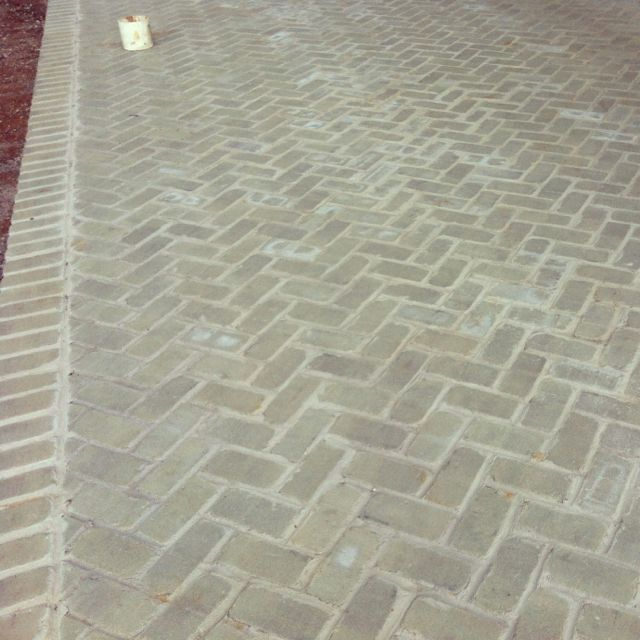 Herringbone Patio At One Of My Current Jobs Love The Gray Brick