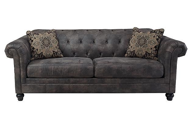 Cobblestone Hartigan Sofa Ashley Furniture Our New Sofa Gray Tufted Dream Home Pinterest