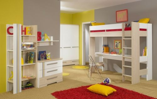 kinder hochbett mit schreibtisch und lagerschränken ausgestattet, Wohnzimmer