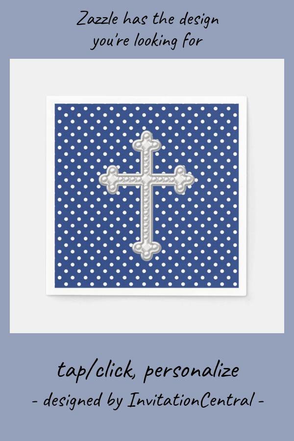 Navy Blue Cross Christening Paper Napkins Zazzle Com Christening Personalized Paper Napkins Paper Napkins