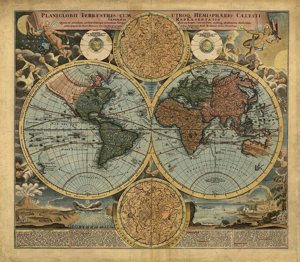 1716 Antique World Map Reproduction Rolled CANVAS PRINT 28x24 in