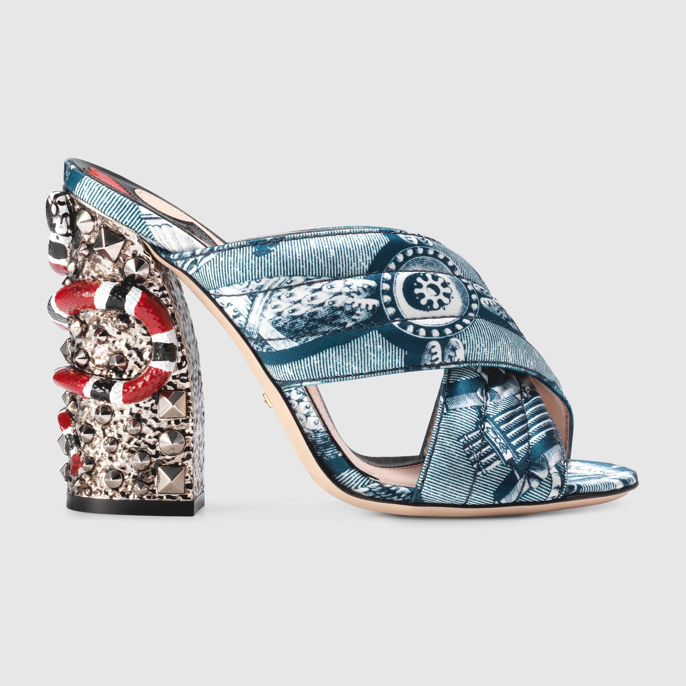 5270a886364c Gucci Women - Romain satin crossover sandal - 422050K0I004143 ...