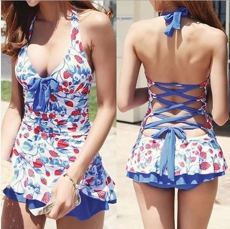 Bywen Girls One Piece Lace Skirt Look Swimwear with Hat