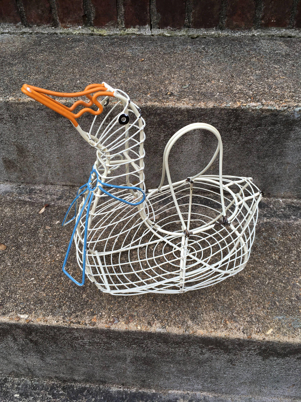 Goose shaped egg gathering basket vintage wire Easter basket egg ...