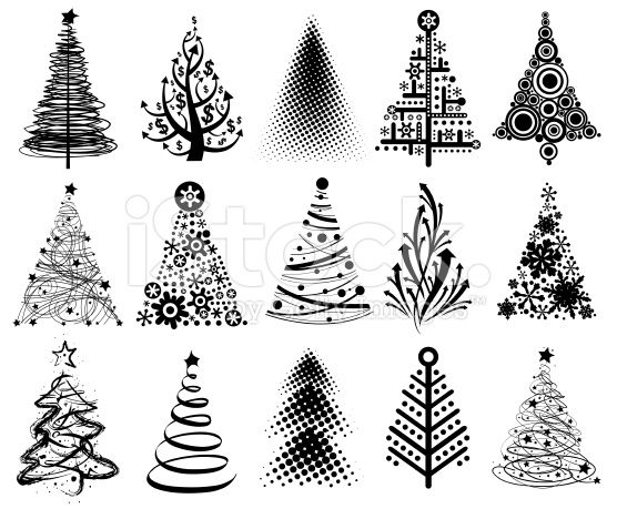 Set Of Modern Christmas Trees 15 Vector Designs In One File Modern Christmas Tree Modern Christmas Christmas Doodles