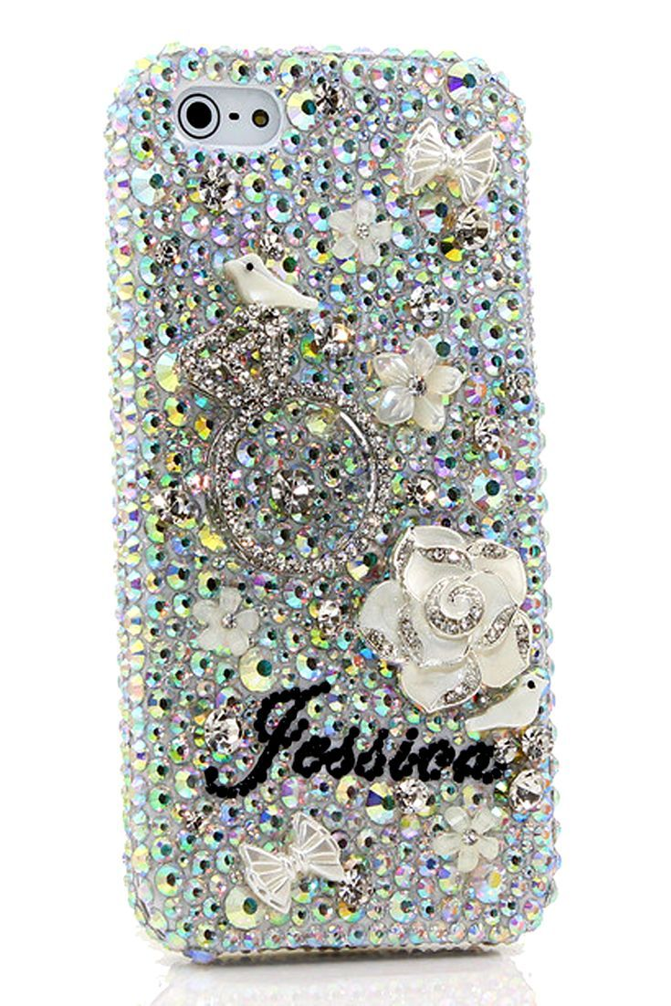 iPhone 5 5s 5c bling case The Diamond Ring Personalized Name   Initials  Design awesome phone cover for women s fashion 2b6d7034c