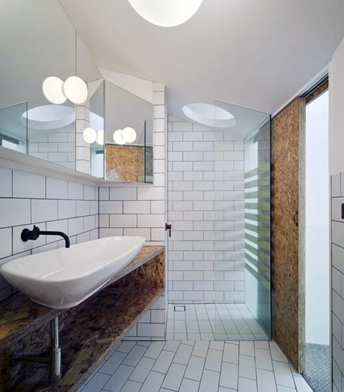 contemporary bathroom with doors and a sink