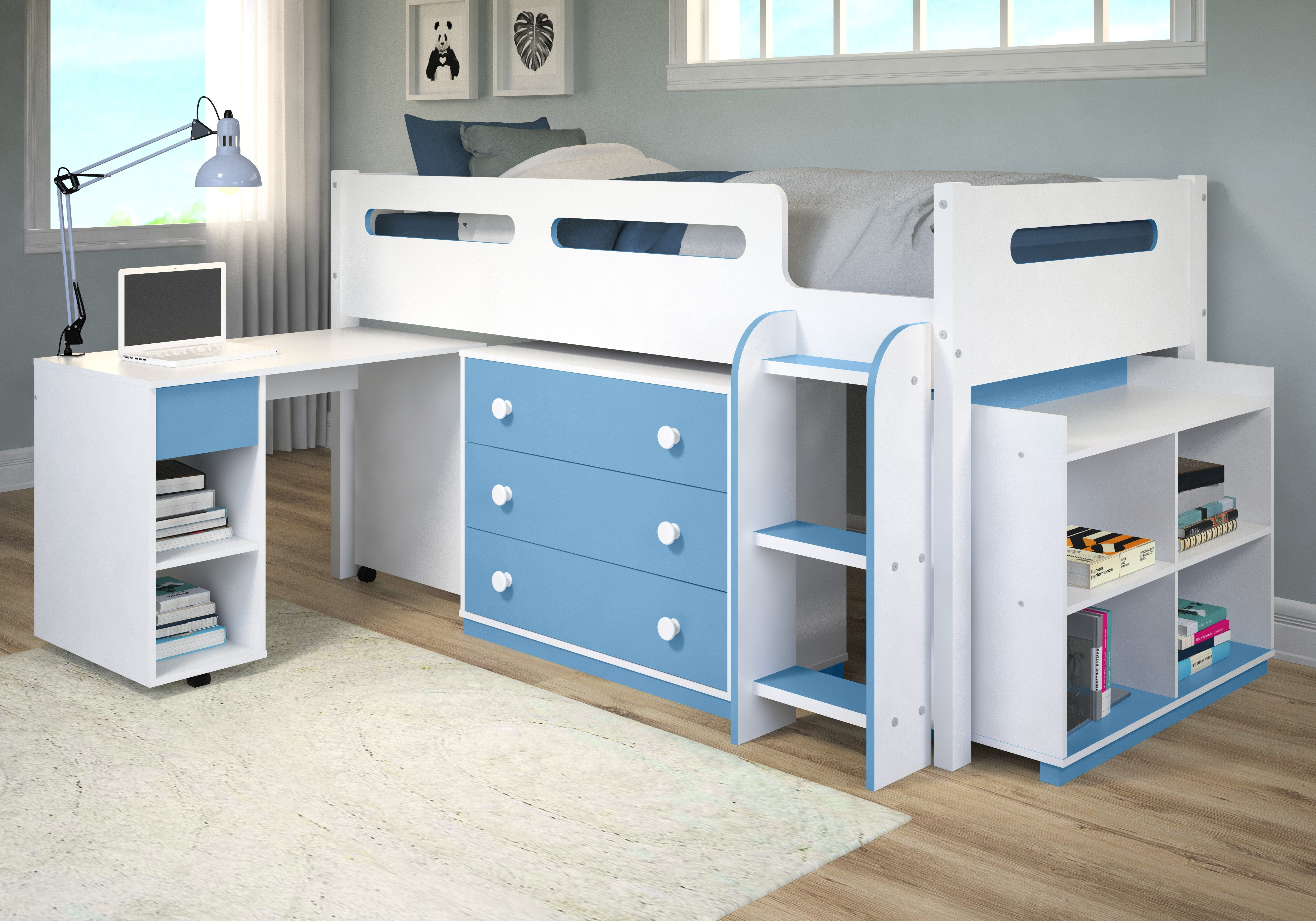 Mateo Blue And White Loft Bed For Kids Low Loft Beds Kids Loft