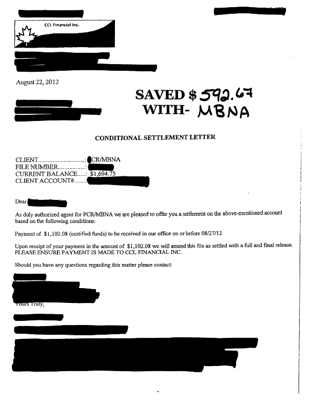 Another Debt Settled With HttpWwwCcdrCa  Mbna Settlements