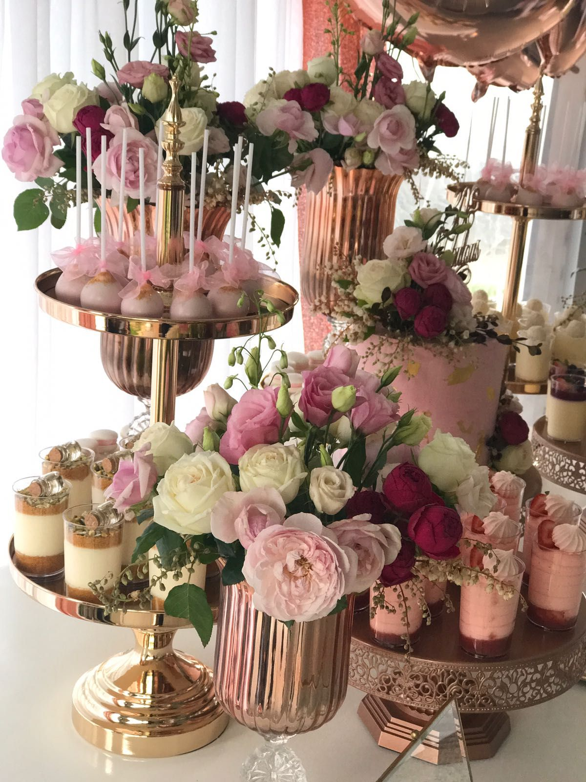 Fabulous Pink And Rose Gold Dessert Table By Creme Co By Touran Rose Gold Cake Stands By Amalfi Rose Gold Cake Gold Birthday Party Decorations Rose Gold Party