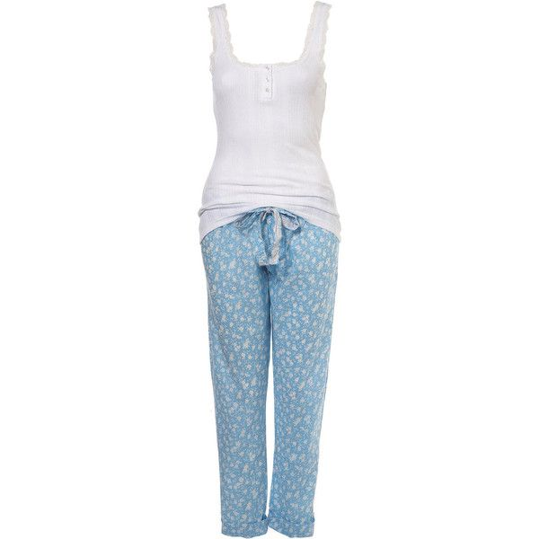 Blue Floral Pj Set (€47) ❤ liked on Polyvore featuring intimates, sleepwear, pajamas, pijamas, pyjamas, women, blue pajamas, cotton sleepwear, cotton pyjamas and cotton pjs