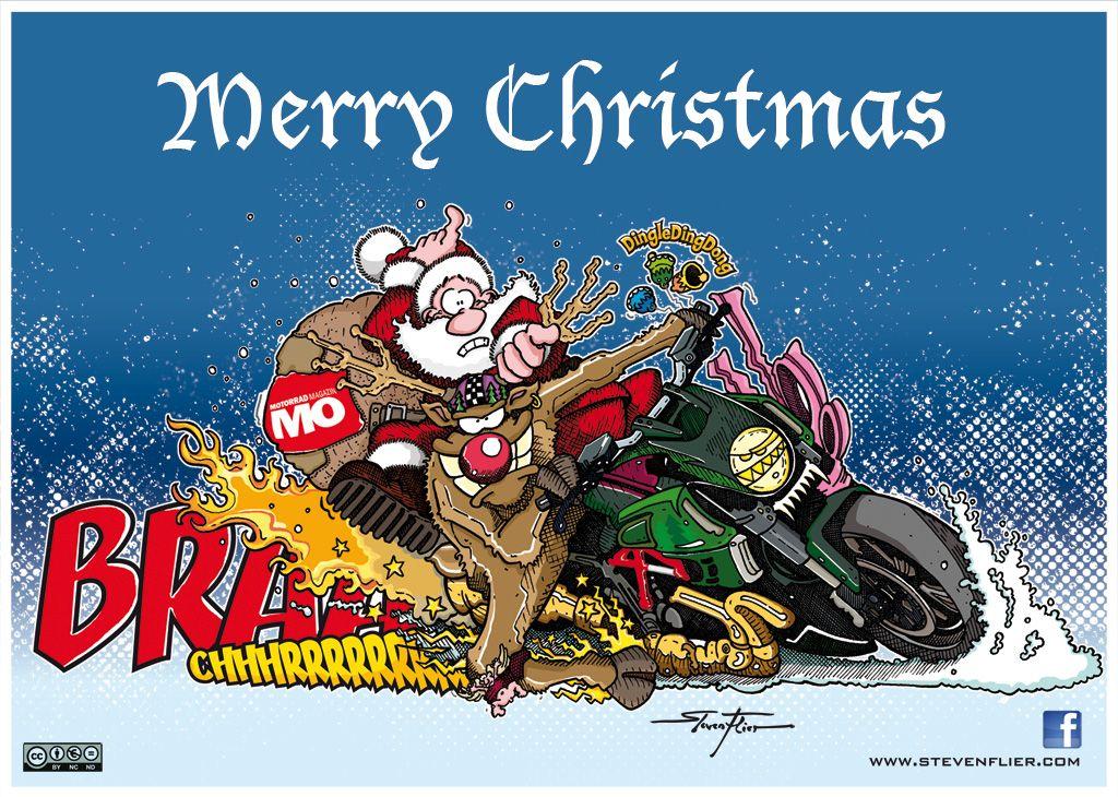Frohe Weihnachten Motorrad.Weihnachten Christmas Illustration Comic Motorrad