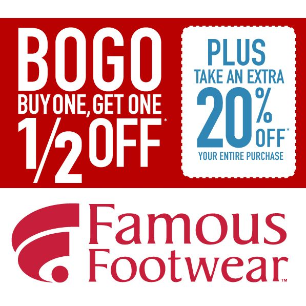 graphic regarding Famous Footwear Printable Coupon titled Well known Sneakers : BOGO 1/2 off + 20% off Reductions and