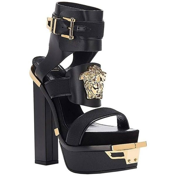 """New Versace """"idol"""" Platform Sandals 38 ($1,895) ❤ liked on Polyvore featuring shoes, sandals, heels, block heel shoes, heeled sandals, versace shoes, genuine leather shoes and real leather shoes"""