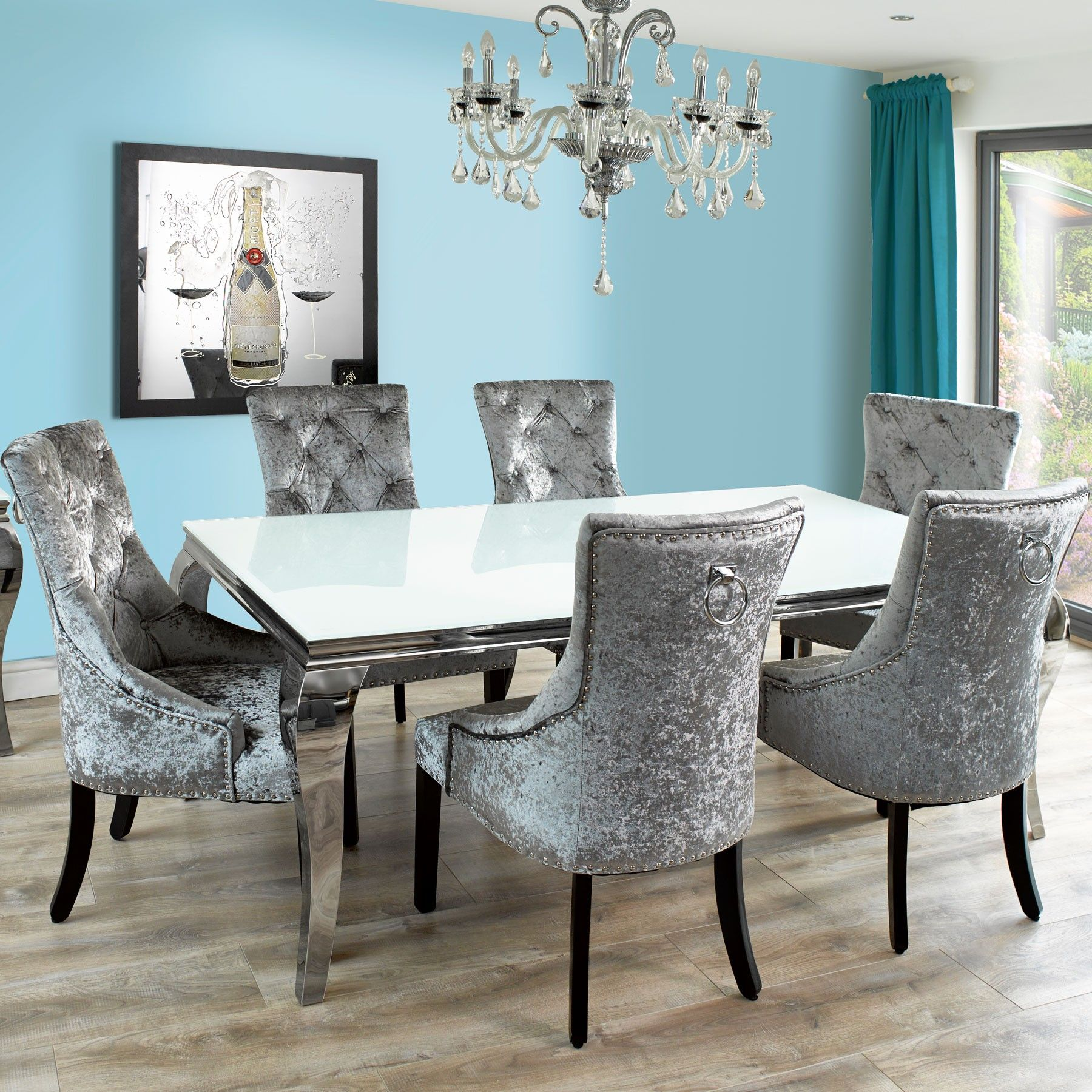 Fadenza White Glass 200cm Dining Table And 6 Silver Chairs With Knocker Contemporary Dining Room Sets Grey Dining Room Blue Chairs Living Room