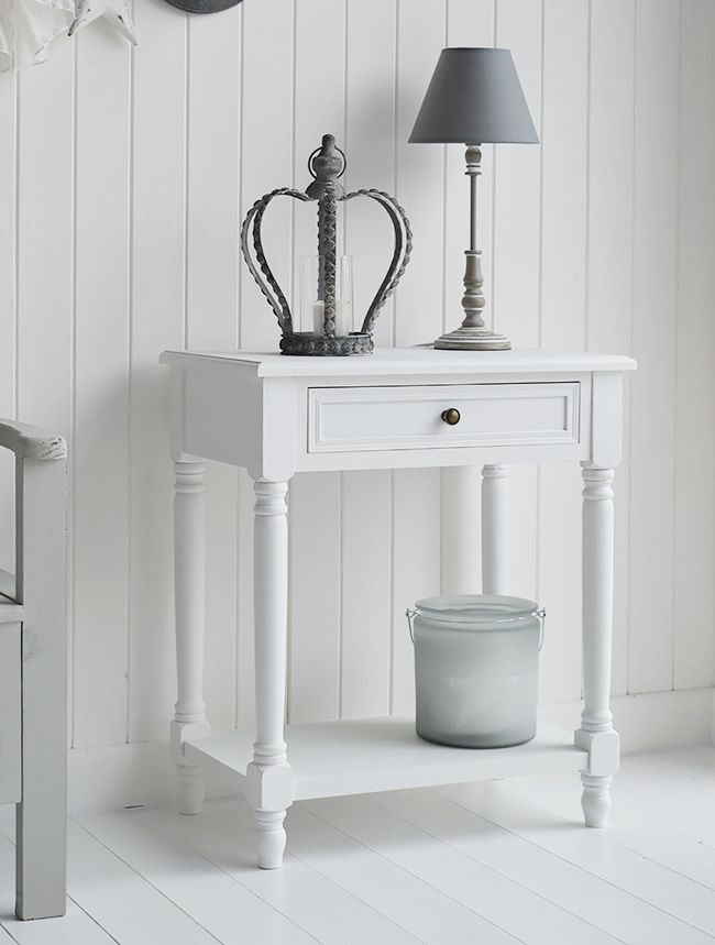 Small White Console Lamp Table For Hallway Or Living Room