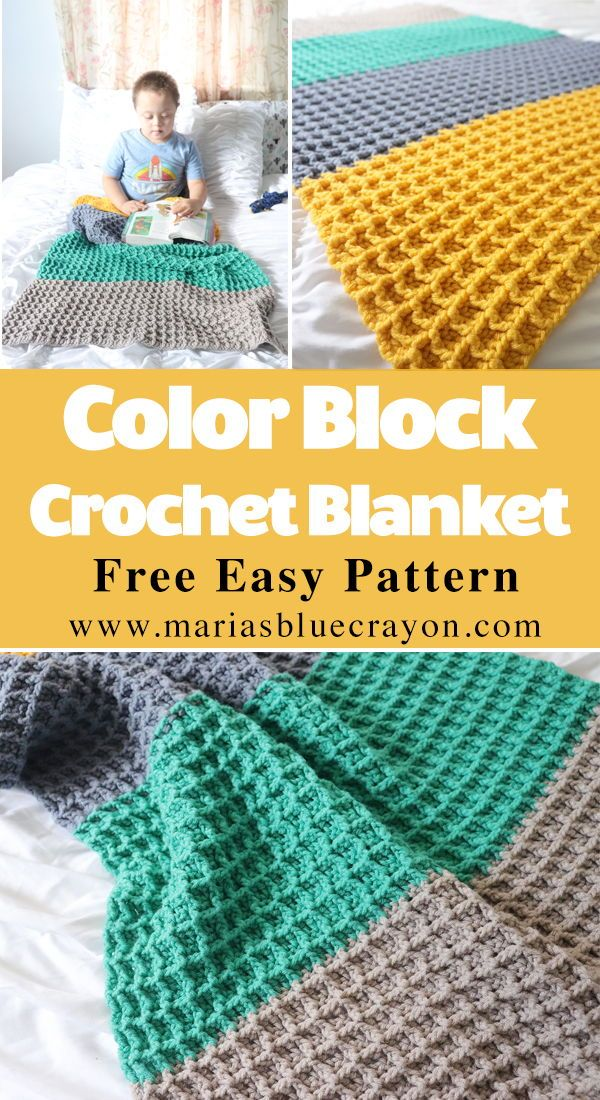 Color Block Crochet Blanket - Free Crochet Pattern | Crochet Ideas ...