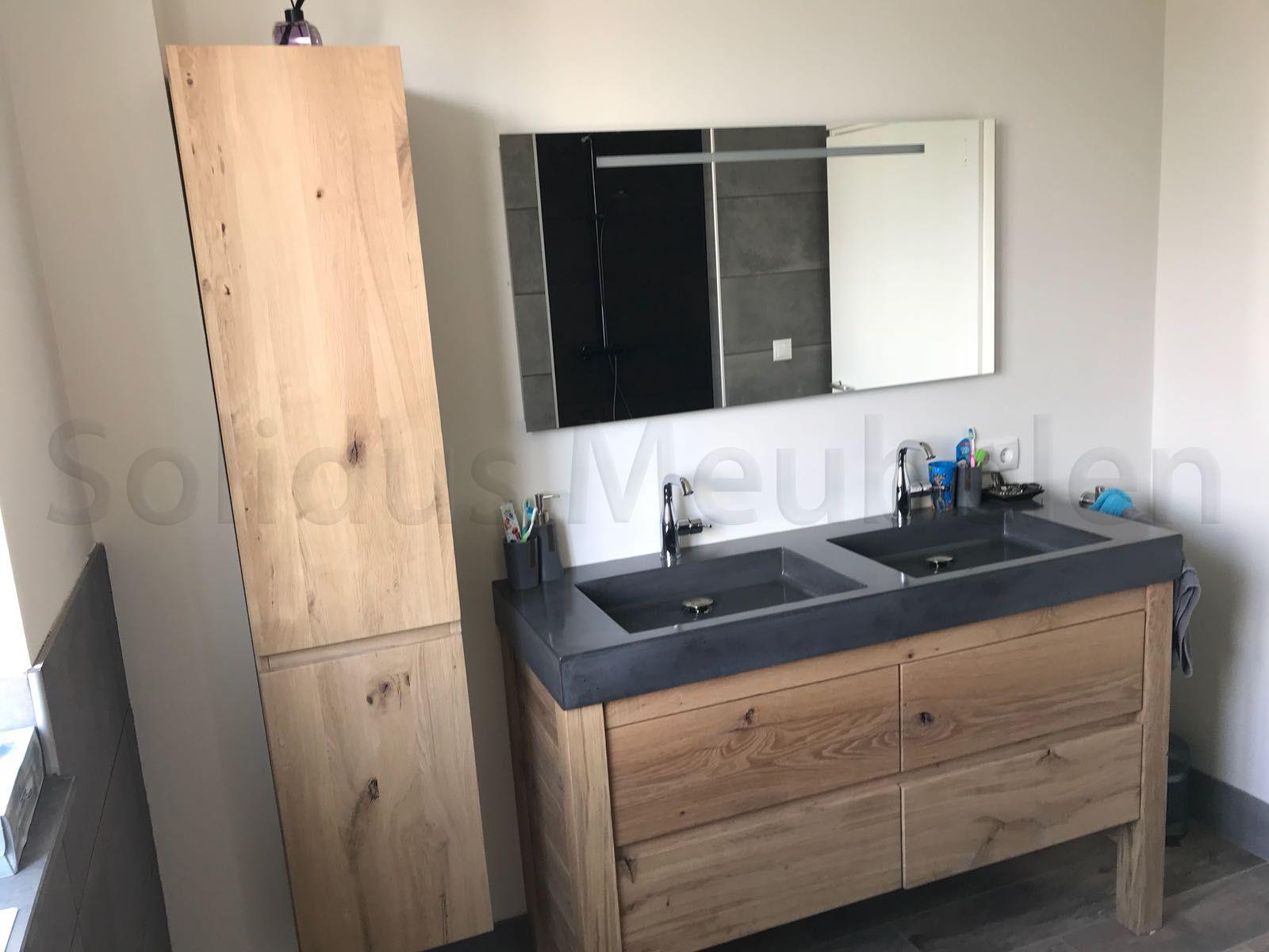 Badkamermeubel Op Maat : Op maat gemaakt badkamermeubel van eikenhout en beton