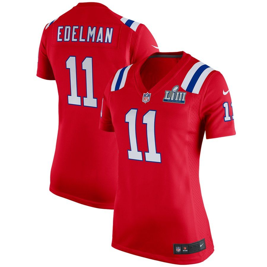 38f9e996308 Julian Edelman New England Patriots Nike Women's Super Bowl LIII Bound  Alternate Game Jersey – Red