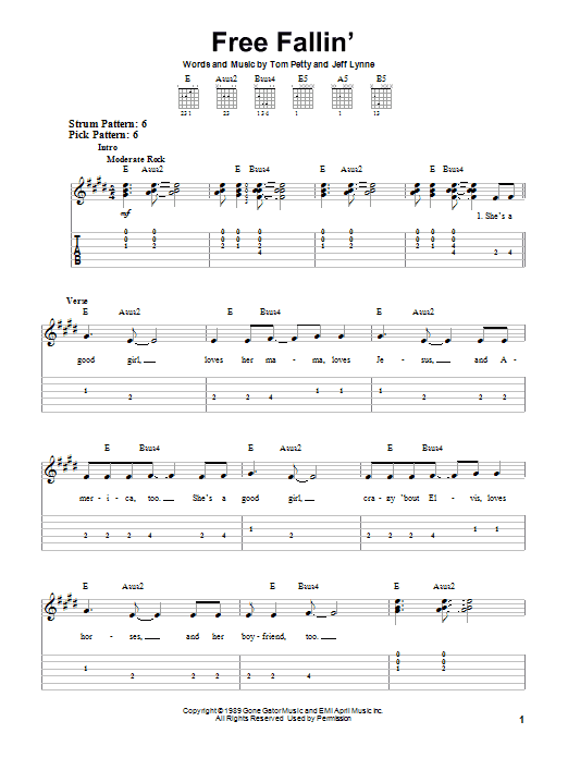 Tom Petty Free Fallin Easy Guitar Tab Leaning To Play