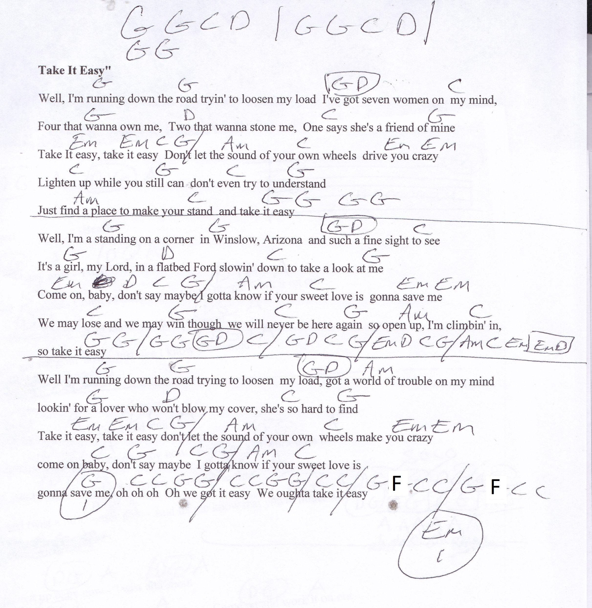 Take it Easy (Eagles) Guitar Chord Chart   Guitar chords