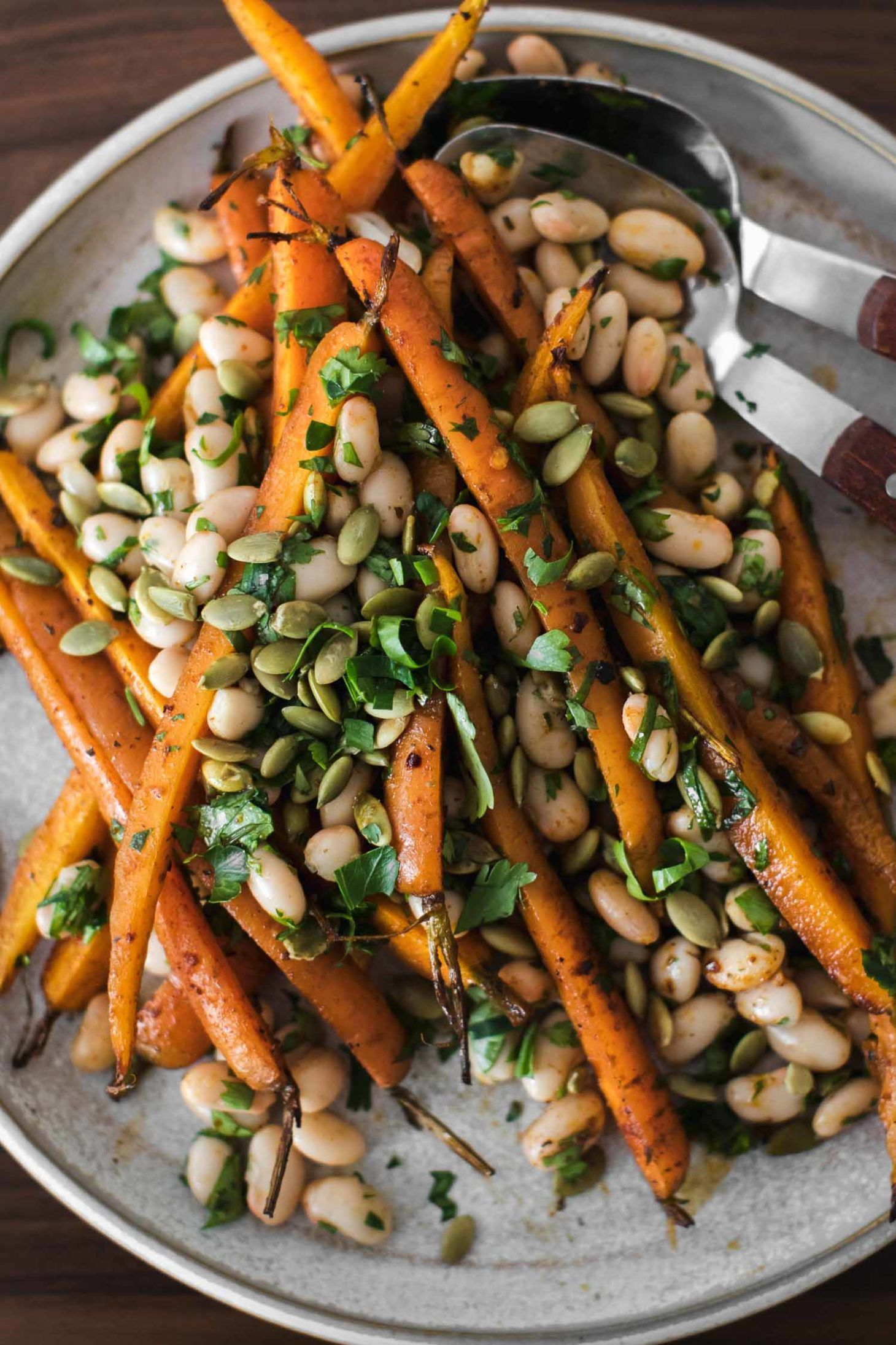 Harissa Roasted Carrots With White Beans