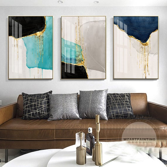 3 Pieces Abstract Gold Navy Blue Print Painting Luxury Wall Art Pictures On Canvas Ready To Hang Printable For Framed Wall Art Wall Art Pictures Large Wall Art