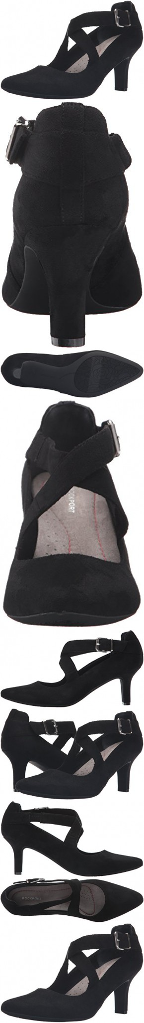 Rockport Women's Sharna Cross Strap Dress Pump, Black Soft Microsuede, 11 M (B)