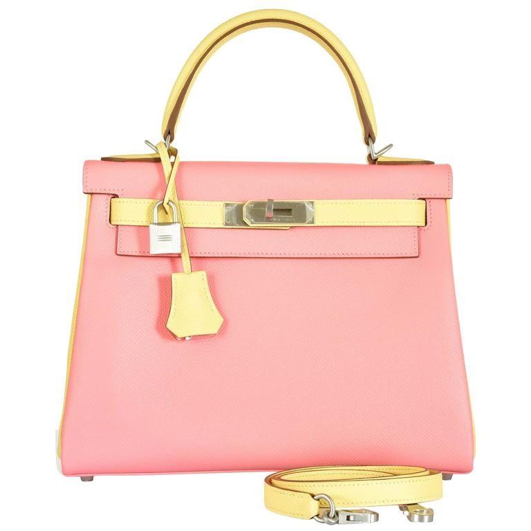 Hermes Kelly Bag 28cm HSS Special Order Rose Confetti and Jaune ... 8cc0b42d26d5d
