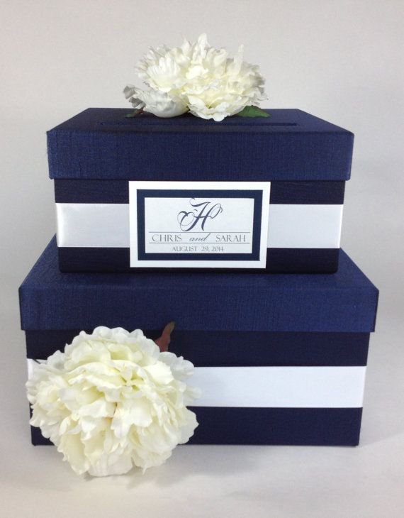 Wedding Card Box 2 Tier Navy Blue By Madisonmaydesigns On Etsy 80 00 Card Box Wedding Wedding Cards Honey Wedding Favors