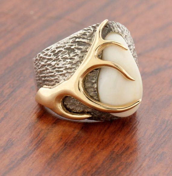 Elk Ivory Ring 14k Gold Silver Elk Tooth Ring Elk Ivory Rings Elk Rings Mountain Rings