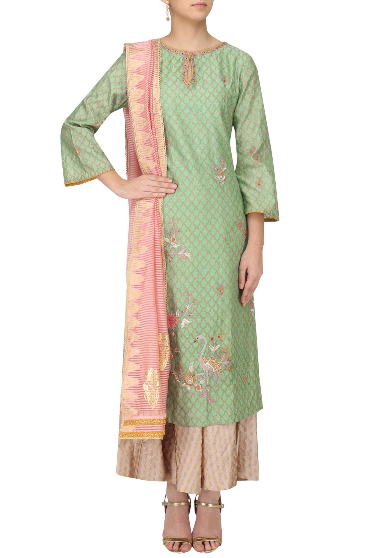 196af405244120 Mint green embroidered kurta with palazzo pants set available only at  Pernia's Pop Up Shop.