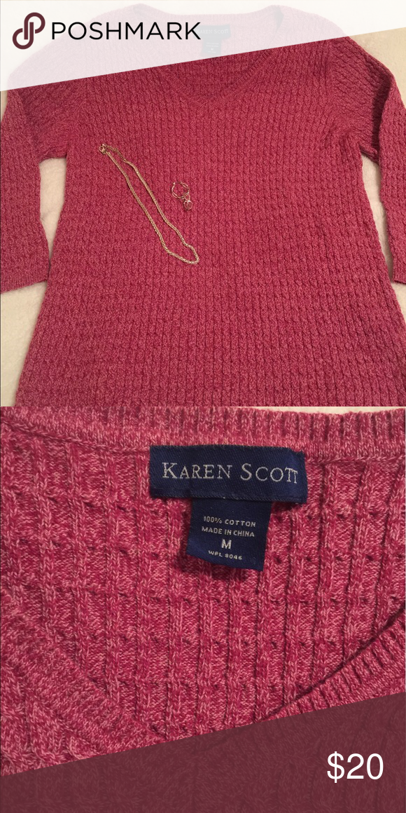 Pretty sweater Great crew neck cable knit sweater. Dark pink/rose color.  Excellent condition. Non-smoking home. Karen Scott Sweaters