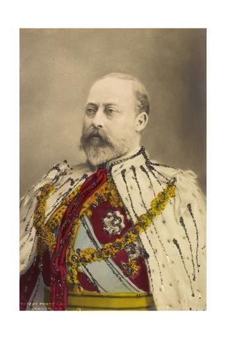 size: 24x16in Giclee Print: Glitzer König Georg V, Uniform, Auszeichnungen, Pelz :