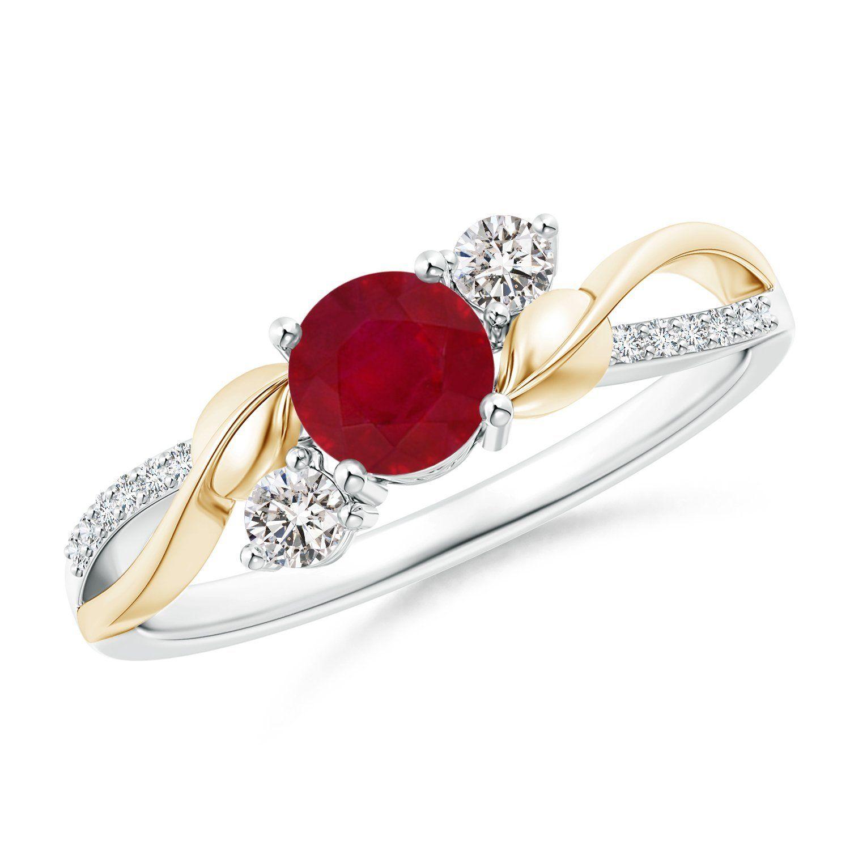 Angara Airline Ruby and Diamond Three Stone Engagement Ring in 14k White Gold qcbLvkoL